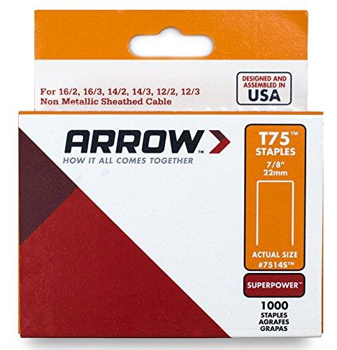 Arrow 031022 7514 Boîte de 1000 Agrafes 22 mm pour Agrafeuse T75