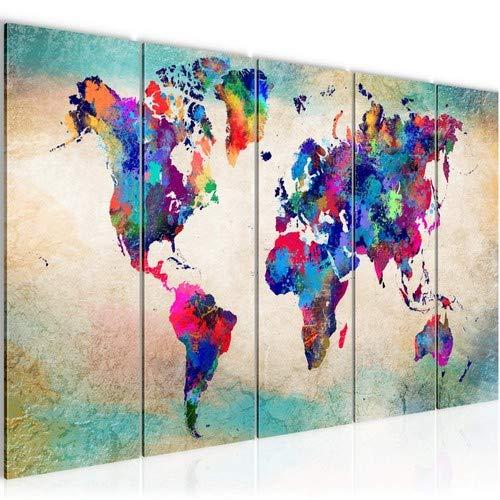 SENSATIONSPREIS !!! Bilder Weltkarte World map Wandbild 200 x 80 cm Vlies - Leinwand Bild XXL Format Wandbilder Wohnzimmer Wohnung Deko Kunstdrucke Bunt 5 Teilig - MADE IN GERMANY - 013355a