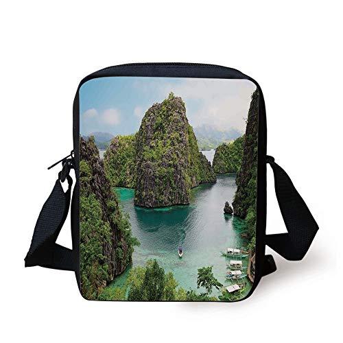 Green Island Resort (Ocean Island Decor,Landscape of Majestic Cliff in Philippines Wild Hot Nature Resort Off Picture,Green Brown Blue Print Kids Crossbody Messenger Bag Purse)