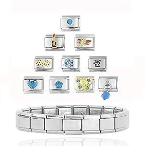 Akkki Italian Charms Armband SET / Classic Silber italy gold Edelstahl Links glider Kult modele Blume tiere Herz Basisarmband 9mm/18 Glieder matt Farbe kompatibel mit Original strass stein Zirkonia