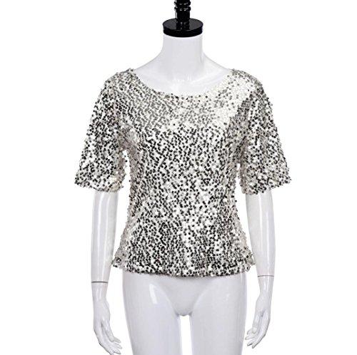 Blusen,WINWINTOM Womens Sequin Sparkle Glitter Kurzarm Cocktail Party Top T-Shirt Bluse Silber