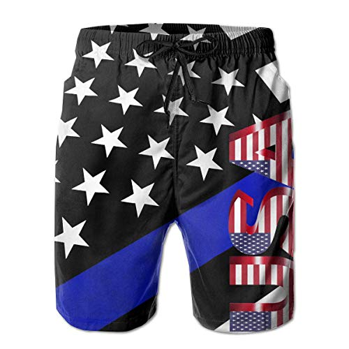 USA Blue Star Flag Men's Summer Casual Drawstring ShortsQuick Dry Beach Shorts Swim Trunks Surf Board Pants Shorts (M) Soft-petite Womens Drawstring Pant