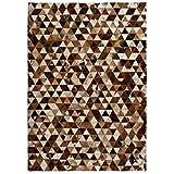 Festnight- Matten Teppich Echtes Leder Patchwork 80 x 150 cm Braun Weiß