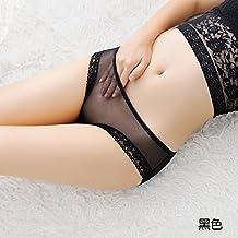Lencería fina transparente hembra grabado de baja altura fluoroscopia terraza de gasa de algodón bruto pantalones ,documento triangular negra