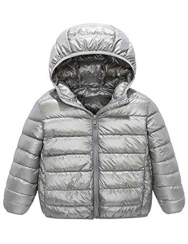 IKALI Ultra Leichte Daunenmantel Jungen Mädchen, Winddichte Kugelfisch Packbar Winterjacke mit Kapuze