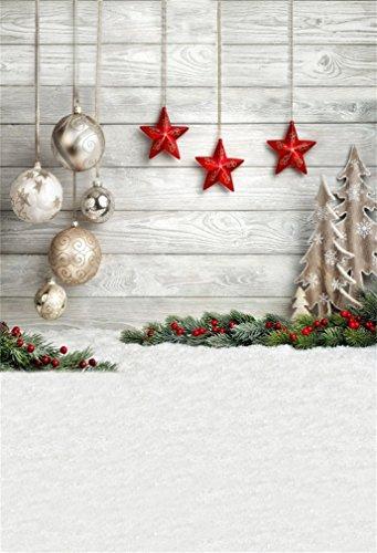 YongFoto 1,5x2,2m Foto Hintergrund Weihnachten Polyester Holz-Wand-Dekor Anhänger Bälle Sterne Winterschnee Fotografie Hintergrund Foto Leinwand Kinder Fotostudio 5x7ft -