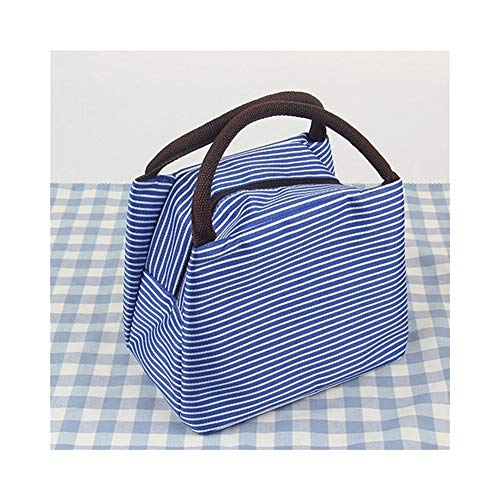 SYYL Outdoor Streifen Picknicktasche Mittagessen Isolierte Kühlbox Tote Leinwand Thermische Lebensmittel Strandtasche Reißverschluss Für Camping Wandern Frauen Kinder Männer - 4 Taschen Tote-leinwand-tasche