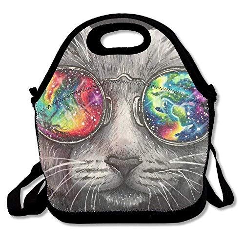 Dozili Galaxy Brille Kitty Cat Large & Thick Neopren Lunch-Taschen Isolierte Lunchtasche Kühltasche Warm Warm Tasche mit Schultergurt für Frauen Teenager Mädchen Kinder Erwachsene