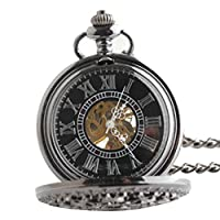Joielavie Retro Pocket Watch Hollow Spider Web Case Roman Numerals Double Lap Engraved Mechanical Movement Flip Calmshell Classical Alloy Single Chain Watches Gift For Men Women