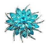 Ellepigy Personnalité Fleur Cristal Boutonnière Broche Broches Vêtements Sacs Jacket Badge Accessoires Pour Femmes, Mer Bleu