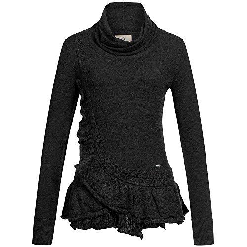 khujo - Pull sans manche - Uni - Manches Longues - Femme Noir - schwarz (ME6BLK-MEL)