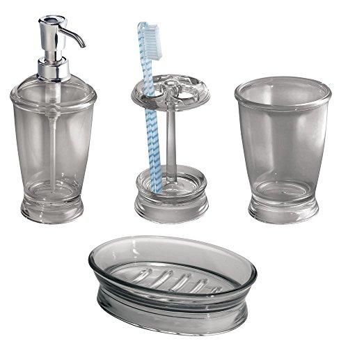 mDesign Set da 4 Accessori per Il Bagno in Acrilico - Set Accessori Bagno Elegante Composto da portasaponette, Dispenser Sapone Liquido, portaspazzolino e Bicchiere da lavandino - Grigio Fumo