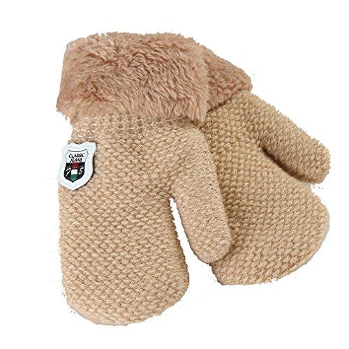 HENGSONG Handschuhe, Niedliche Baby Jungen Mädchen Kleinkind Gestrickte Winter Warme Handschuhe (1 bis 4 Jahre) (Beige 2)