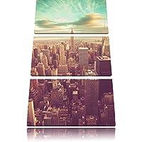 vista dell'elicottero immagine Manhattan 3 pezzi tela di canapa 120x80 di su tela, XXL enormi immagini completamente Pagina con la barella, stampe d'arte sul murale cornice gänstiger come la pittura o un dipinto ad olio, non un manifesto o un