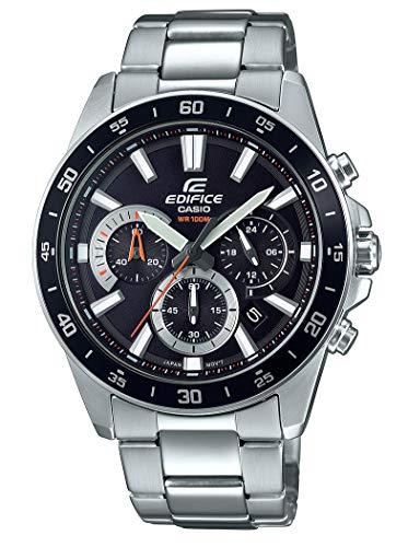 Casio Edifice Herrenarmbanduhr EFV-570D-1AVUEF, schwarz, massives Edelstahlgehäuse und Armband, 10 BAR