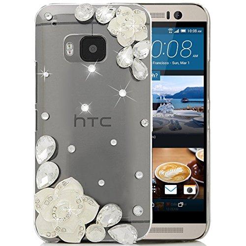 SMART LEGEND für HTC One M9 Hülle Glitter Case Hartschale Transparent Schutzhülle Handyhülle Shiny Glanz Sparkle Bling Diamant Strass Tasche Skin Schale Hart PC Hardcase Clear Kristall Handytasche Etui