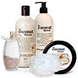 """BRUBAKER Happiness """"My Coconut Breeze"""" 5 tlg. Geschenkset Kokos Vanilla mit Body Lotion, Duschgel, Körperbutter, Badesalz und Badeschwamm"""