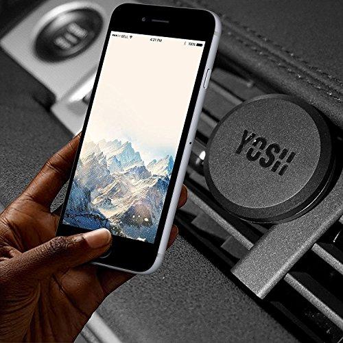 YOSH Soporte Móvil Coche para Rejillas del Aire, 2 Unidades Soporte Móvil Coche Magnético Universal para Samsung J5 J3 J7 S7 S8 S9 A5 Huawei P20 P10 Lite iPhone X 8 7 6s y Otros Móviles (Negro)