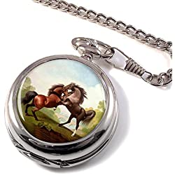 Fighting Stallions by George Stubbs Full Hunter Pocket Watch