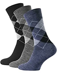 3 Paar Super warme Thermo-Socken in klassischem Karo-Design