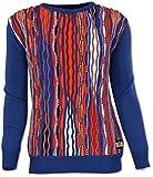 Carlo Colucci Rundhalspullover im typischen Markenstil, Blau-Orange Blau/Orange L