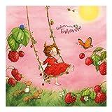 Vlies wallpaper- Fensterbild Erdbeerinchen Erdbeerfee–Baumschaukel–Wandbild eckig