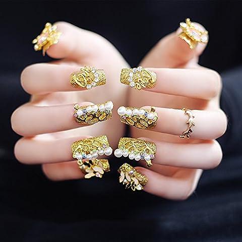 yunail Goldene Hochzeit Party Fake Nägel lang 20Stück Quadratisch Luxuriöse Strass Perlen Decor Nail Tipps für Braut mit Kleber (Weihnachten Acryl Nail Art)