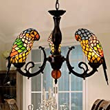 YDYG LED Tiffany Style Parrot Chandelier 3-Cabezas vidrieras Lámparas Colgantes Dormitorio, Sala de Estar, Sala de Estudio Decorativas Lámparas de Techo E27 (Color : Amarillo)