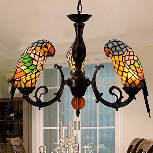 GJX LED Tiffany Stil Papagei Kronleuchter 3-Heads Glasmalerei Pendelleuchten Schlafzimmer, Wohnzimmer, Arbeitszimmer dekorative Deckenleuchten E27 (Farbe : ()