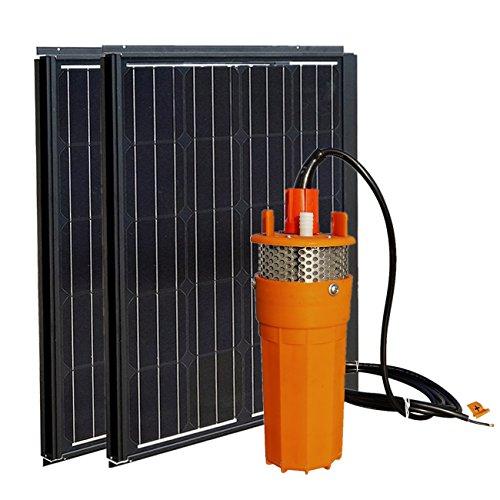 DCHOUSE 180W Monokristallin Solarpanel + DC 24V Solar Tauchpumpe Systeme: 2 pcs 12V 90 W Mono Solarmodul +Elektrische Wasser Brunnenpumpe pumpe für Bauernhof Weide