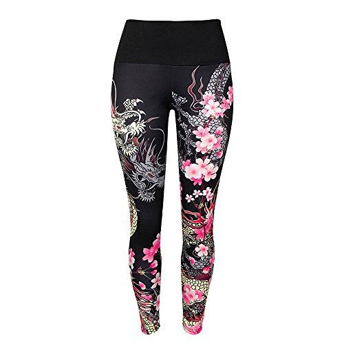 YWLINK Damen Drachen Drucken Sporthalle Yoga LäUft Fitness Leggings Hosen Sporthose(S,Schwarz)