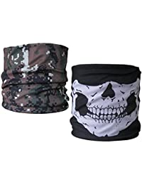 (2 PACK) Multifunctional Headwear...Skull Jaw / Green Pixel