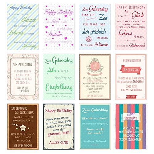 Set 12 exklusive Geburtstagskarten im coolen Vintage-Look mit Umschlag *Einführungspreis* Glückwunschkarte Grusskarte Geburtstag Geburtstagskarte