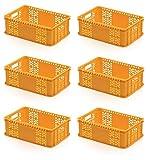 6x Bäckerkiste 60 x 40 x 20 gelb * Gemüsekiste durchbrochen Eurobehälter Süßwaren Bäcker