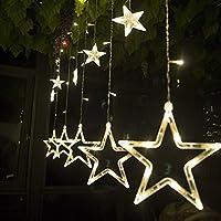 Salcar Lichterkette mit LED Kugel 12 Sterne 138 Leuchtioden Lichtervorhang Sternenvorhang 8 Modi Innen & Außenlichterkette Wasserdicht Dekoration für Weihnachten Deko Party Festen, Kupfer, Warmweiß