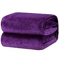Bedsure Fluffy Throw Blankets Double/Twin Size Purple - Super Soft Fleece Bedspread Blanket Flannel Microfiber Sofa Bed Blankets 150x200cm