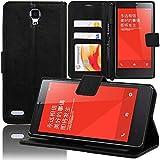 VCOMP Xiaomi Redmi Note/ Redmi Note 2/ Redmi Note 4G: Funda cartera Cuero PU Tipo libro solapa soporte video - NEGRO