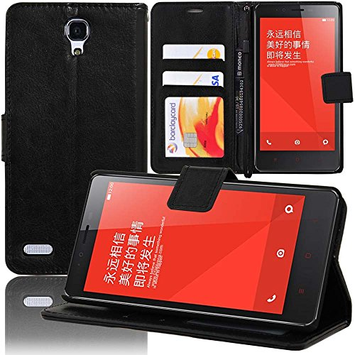 VCOMP® Xiaomi Redmi Note/ Redmi Note 2/ Redmi Note 4G: Etui portefeuille cuir PU Livre rabat support vidéo - NOIR