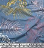 Soimoi Bleu Mousse Georgette en Tissu Feuilles et Albizia Fleur Tissu a Coudre Imprime par Metre 42 Pouce Large
