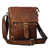 Samwestart Shoulder Bag for Men Casual Business Trip Travel Genuine Leather Adjustable Sling Crossbody Bag with Zipper & Hasp Fashion Design, Brown