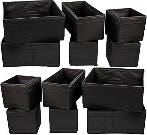 Unbekannt Aufbewahrungsboxen Skubb Faltboxen Regaleinsätze Kisten Regalzubehör … (12er Set, schwarz)