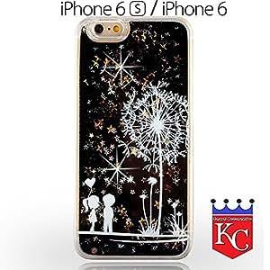KC Lover Liquid Bling Glitter Stars Case Flower Printed Transparent Hard Back Cover for iPhone 6 & iPhone 6s - Black Colour