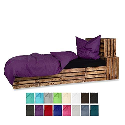 Baumwolle Renforce Bettwäsche UNI 2-4 teilig 135x200 + 80x80 cm mit Reißverschluss - in 16 modernen Farben - 4 tlg. Set 2x 135x200 + 2x 80x80 cm Baumwolle Renforcé Bettwäsche Uni - Lila