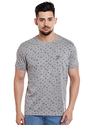 Vimal Printed Grey Round Neck Cotton Tshirt For Men(Pack OF 1)