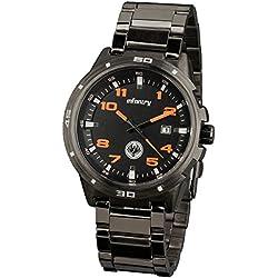 INFANTRY® Mens Analogue Wrist Watch Date Display Sport Black Stainless Steel Bracelet Strap Orange ...
