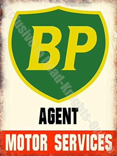 BP Benzina Agente Motore Services Auto Olio Garage Vintage Metallo/Targa Da Parete In Acciaio - 30 x 40 cm