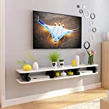 Wandhalterung TV-Schrank Schwimmendes Regal Wand-Hintergrundablage Regal für DVD- / Blu-Ray-Player Satelliten-TV-Box Kabelbox Bilderrahmen Buch,White,130cm