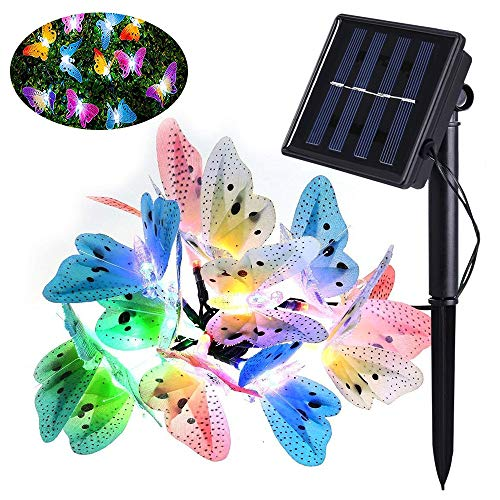 Yansion Led Solar String Licht Multi Farbe Schmetterling Solar Aussen Lichterkette Wasserdichte Außenbeleuchtung Hausgarten Terrasse Rasen Party Decor Beleuchtung. (Außen Party Decor)