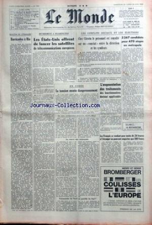 MONDE (LE) [No 7291] du 23/06/1968 - BARRICADES A ...