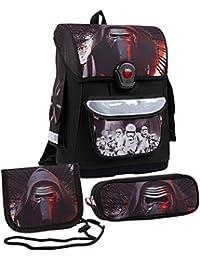 Star Wars-The Clone Wars Darth Vader Jedi Yoda Ragazzi 3 pieces Set: cartella scuola + Astuccio + Neckpurse - nero